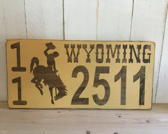 Rustic Wyoming Address Sign - Wyoming License Plate Sign -  Go Pokes - Wyoming Cowboys Home Decor - Wyoming Home Address - Wyoming Home Art