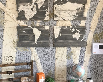 Rustic Grey World Map - Pallet World Map- World Wooded Map - Hand Painted Map -  Pallet Wood Map - Rustic Wood Map - Rustic Home Decor -