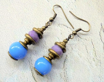 Lavender and Cornflower Blue Boho Earrings (3187)