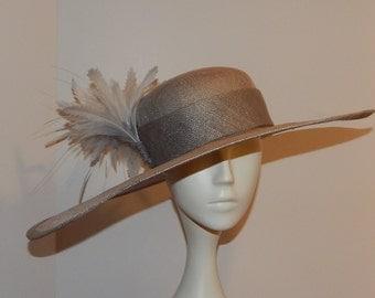 Grey Sinamay Asymmetrical Brimmed Kentucky Derby Hat