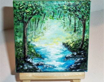 Misty Forest Stream Mini Painting Canvas and Easel Miniature Art 3 x 3 Inches FREE SHIPPING