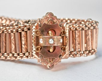 Victorian Etruscan Slide Bracelet, Gold Filled, Seed Pearl, Tassel Fringe, Antique Jewelry, Expandable Bracelet, Vintage Pearls, Edwardian