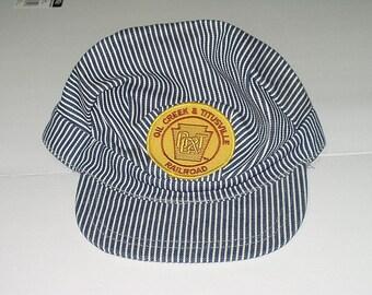Vintage OC &T Railroad Cap One Striped Stripe Railroad Hat Oil Creek Titusville Souvenir Large Retro Mens Fashion 4173