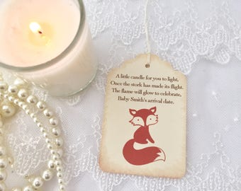 Fox Candle Favor Tags Baby Shower Set of 10