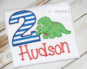 Dinosaur Applique Birthday Shirt for Boys with FREE PERSONALIZATION, Triceratops Dinosaur Birthday Shirt, Boys Dino Shirt, CHOOSE the Number
