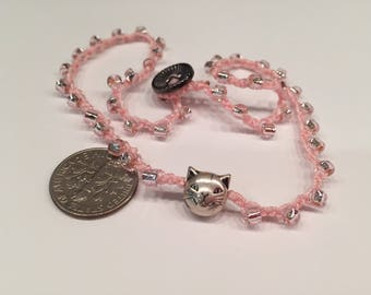 Little Girl necklace with Cat charm at the center youthful choker style for older person feminine fun one of a kind