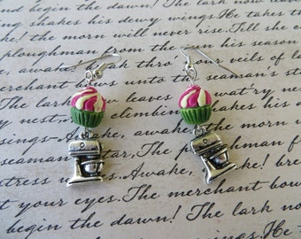 Dangling Sweet Clay Cupcake And Silver Mixer Charm Earrings