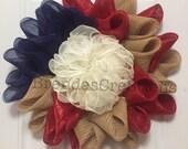 Deco Mesh Flower Wreath, Country American Home Decor, Primitive Country Wreath, Patriotic USA Floral Wreath, Unique Flower Mesh Wreath