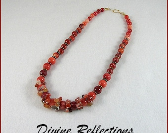 Red Gemstone Necklace, Graduated Gemstones, Agate, Stone, Quartzite, Red Necklace