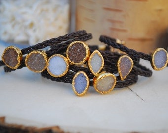 DRUZY LEATHER BRACELET /// 24kt Gold Electroformed Druzies and Braided Leather Choker