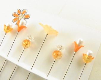 Fancy Sewing Pins Tangerine Flowers