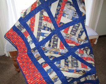 Lighthouses, Boats and Anchors-Quilt-Twin Size