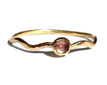 Pink Tourmaline 14k Solid Gold Ring - Wavy Ring - Thin Gold Ring - Stackable Ring- Pink Tourmaline Ring - Rustic Tourmaline SOLID Gold Ring.