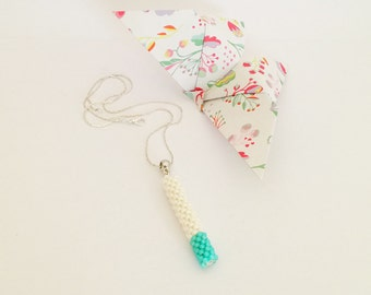 Linear necklace Turquoise White Bead Crochet Rope Pendant