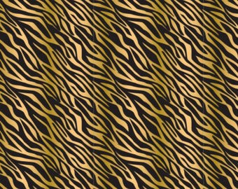 Gold Metalic and Black Zebra on Black Fabric Quilting Weight textile, Designed Cotton - by the yard