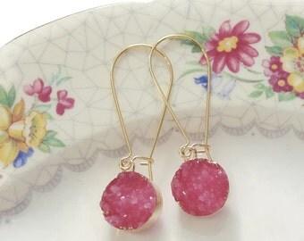 Druzy drop earrings Pink druzy earrings Druzy dangle earrings Druzy earrings Gold druzy earrings  Bridesmaid earrings Boho wedding jewelry