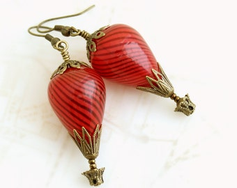 Red Hot Air Balloon Earrings - Red earrings just in time for Christmas - Red Steampunk Jewelry