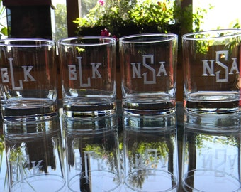 4 Double Old Fashion Beverage Glasses Engraved with Individual Monograms. Wedding Groomsman Gift