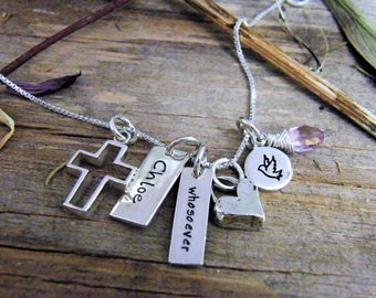 open cross artisan heart, date tag necklace baptism necklace