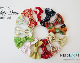 SALE a year of Hairbows SET of 13 Hairclip cotton holiday easter new years christmas summer fall hairband