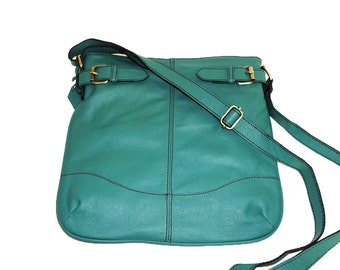 Teal Green Genuine Leather Messenger Bag Leather Crossbody Bag Leather Purse Leatehr IPad Bag Leather Messenger Leather HANDBAG - Vidal!