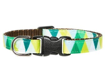 "Cat Collar - ""The Mountaineer"" - Green Triangles"