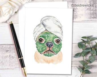 Dog Greeting Card - French Bulldog, Blank Card, Stationary, Birthday Card, Thank You, Funny Dog Art