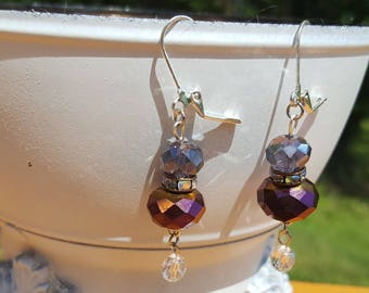 Purple Glass Bead Earrings with Rhinestones and Small Crystal Dangle Free U.S. Shipping