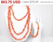 Spring Sale Spiney Coral Necklace & Bracelet Set - Rope length Pull Over, Single Strand Rope length - Peach Colored Natural Branch Coral ...