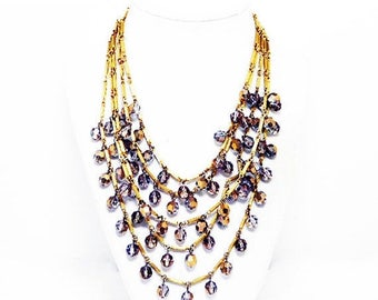 Multi Chain Bib Necklace - Five Strand Necklace with Dangling Iridescent Beads on Gold Tone Chains - Sparkling 1950s 1960s Jewelry