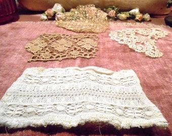 Antique Lace Lot French Lace Remnants  Edwardian Cotton Lace