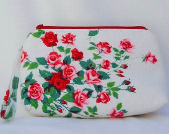Dainty Red Roses Wristlet - Vintage Tablecloth
