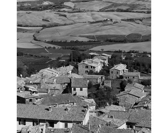 Fine Art Black & White Photography of a View Over Montalcino Tuscany