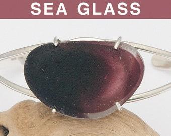 Multi Purple English Sea Glass Cuff Bracelet