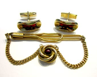 Vintage Cuff Link Set Tie Clip Swank Red Rhinestone Men's Jewelry Jewelry Suit Tie Accessories Gift for Him Gift for Dad