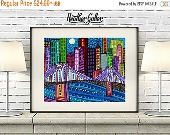 50% Off Today- Cityscape Print Brooklyn Bridge New York City Art Poster Print of painting by Heather Galler