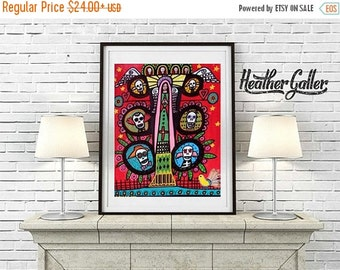50% Off Today- Day of the Dead, Mexican Folk Art (HG374)