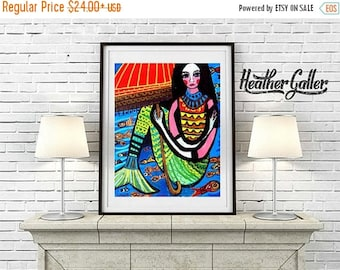 50% Off Today- Mermaid Art Print Mexican Folk Art  Art Print Poster by Heather Galler Painting (HG616)