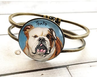 English bulldog Jewelry - English bulldog Art - English Bulldog Gifts - Pet Memorial Bracelet - Dog Bracelet - Pet Loss Gifts - For Helen
