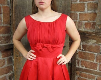 On Sale 1950s Red Hot Bow Shirred Bodice Dress