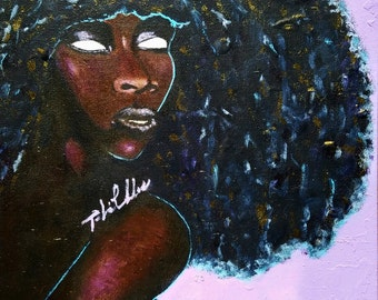 "Painting ""Mysteriously Deep"" by Tarra Lu, portrait, black art, afro, wall art, original art, home decor"
