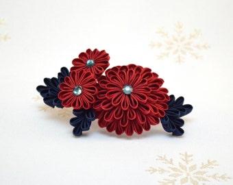 Dark red kiku Japanese kanzashi hair pin