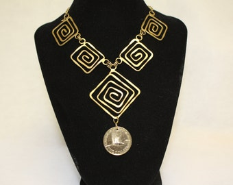 Coin Aztec Design Necklace with New Zealand Coin