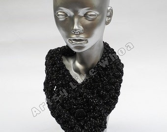 MADE TO ORDER Black with Sparkles Crocheted Neckwarmer Cowl, Acrylic Scarf, Adjustable Cowl