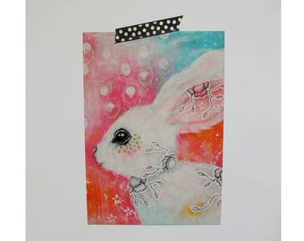 bunny rabbit glossy oversized postcard poster print painting art print A5 size - With joy in her heart