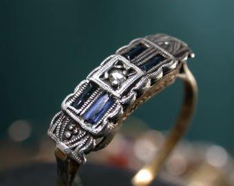 antique vintage art deco 18k gold  diamond french sapphires  stones ring free resize