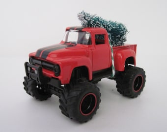 1956 FORD F-100 4x4 Pickup TRUCK - Red - Jada 1/64 Scale - CHRISTMAS Ornament, Christmas Village Display - Christmas Tree Tied to Top