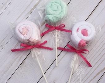 Lollipop baby washcloths, infant washcloths, baby girl shower gift, baby shower gift topper, baby girl gift idea, baby bath gift idea
