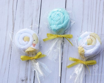 Baby lollipop washcloths, lollipop infant washcloths, gender neutral baby shower gift, gift box topper, baby shower favor, baby bath gift