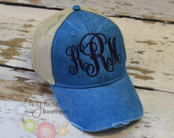 Monogrammed Trucker Hat, Distressed Teal Trucker Hat- NEW COLOR- Personalized Ball Cap, Mesh Trucker Hat